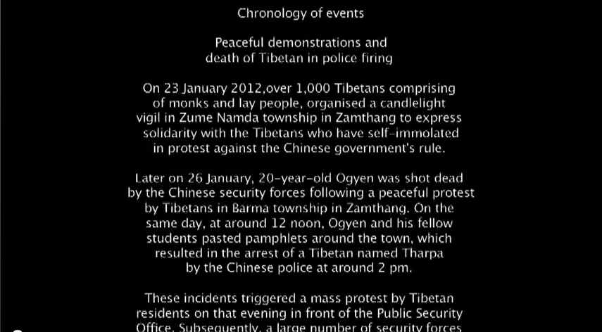 2012_Video footage of protest and self-immolation incidents in Zamthang in Ngaba